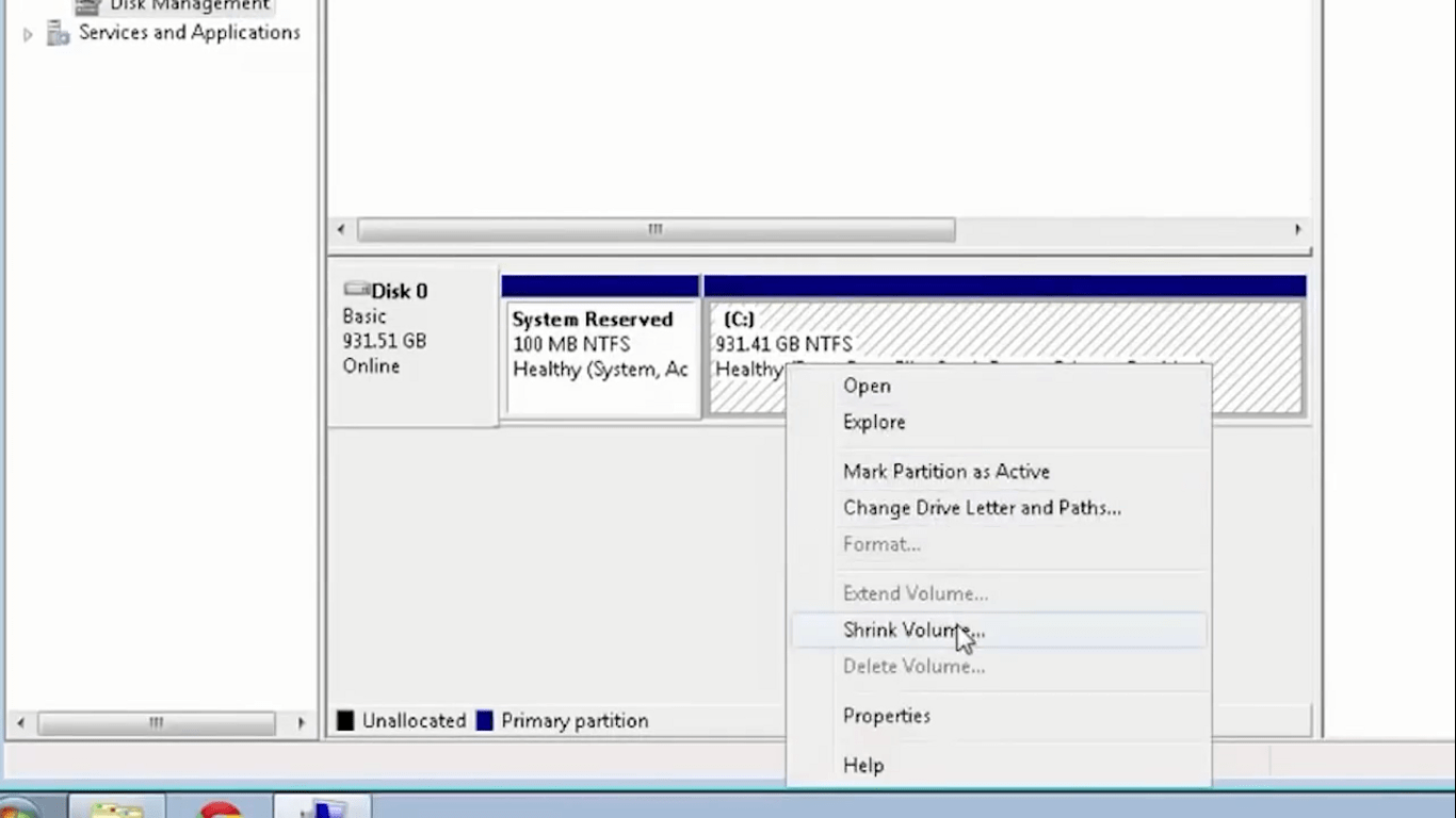 create a new partition for Windows installation files