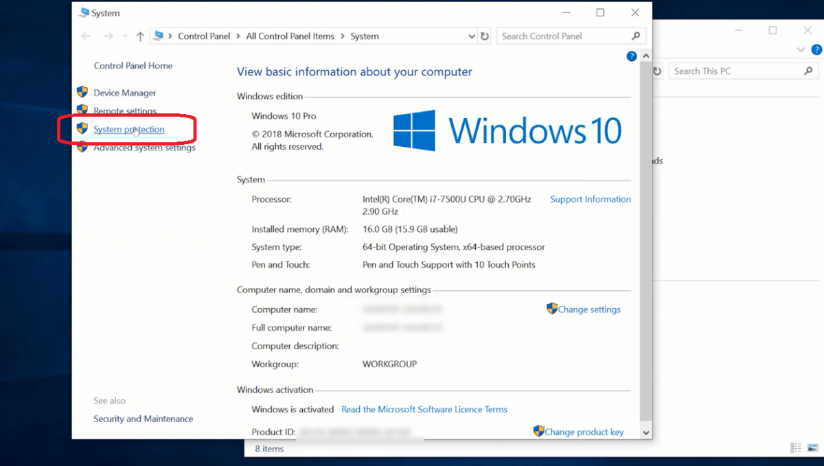 Check windows 10 System Protection