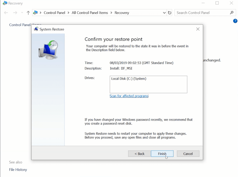 confirm Windows 10 System Restore Point