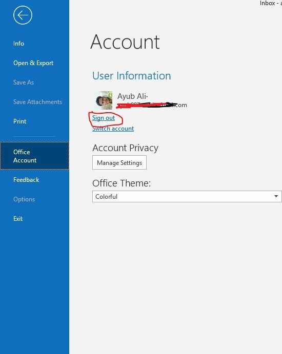 How to sign out of Microsoft Office Suite
