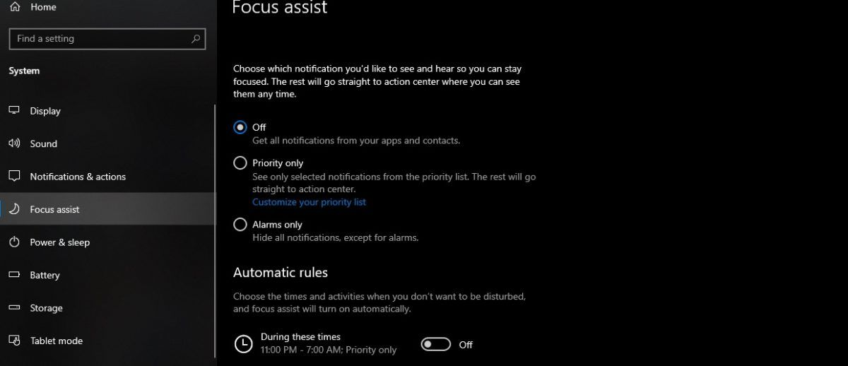 How to Enable and Disable Quiet Hours by Focus Assist