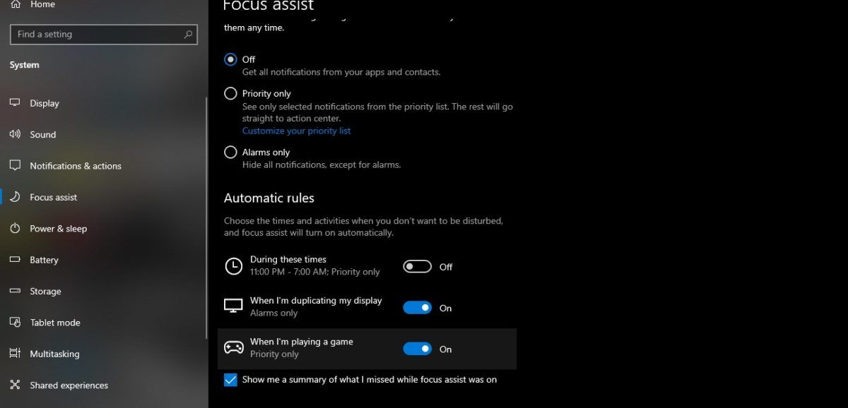 How to Set Focus Assist Automatic Rules on Windows 10